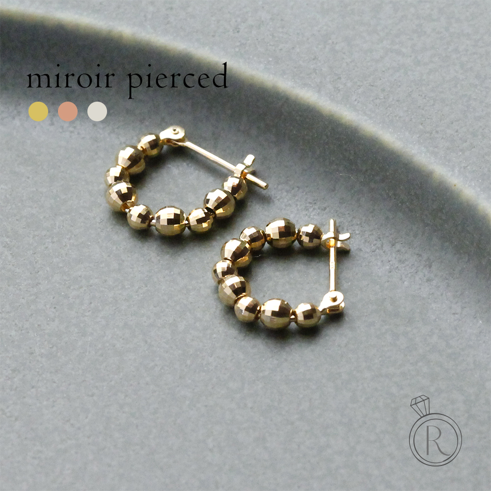 K18 ミロワールブール フープピアス 小さく程よいミラーボールの地金フープピアス 送料無料 地金 pierce K18 ピアス 18k 18金 ゴールド ラパポート