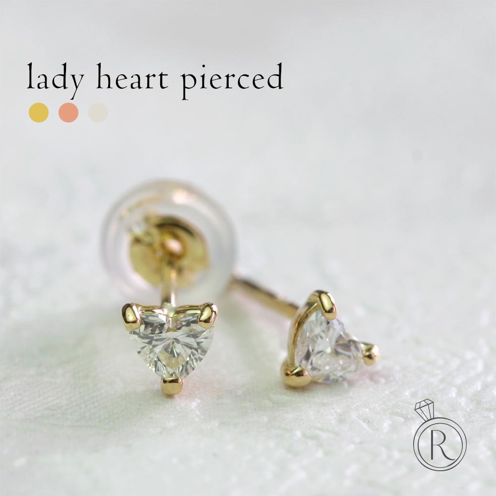 K18 ハートシェイプカット ダイヤモンド ピアス 0.2ct Lady heart ロマンティックな愛らしさを表現するかたちのハートシェイプダイヤ 送料無料 ダイヤ ピアス DIAMOND 18k 18金 ゴールド ダイアモンド ラパポート
