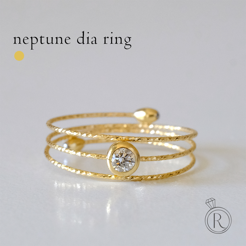 K18 ネプチューン ダイヤモンド リング レディース ダイヤ ダイアモンド 指輪 フリーサイズ 18k 18金 ゴールド メモリーワイヤーリング ラパポート 代引不可 送料無料