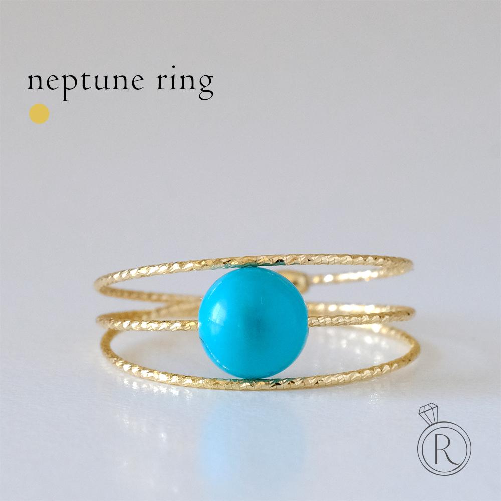 K18 ネプチューン ターコイズ リング 指輪 レディース 天然石 トルコ石 誕生石 12月 フリーサイズ 18k 18金 ゴールド メモリーワイヤーリング ラパポート 代引不可
