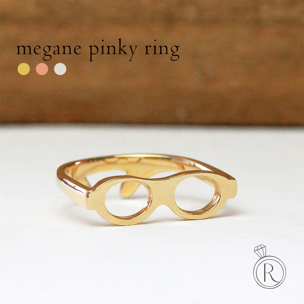 K18 glasses pinky ring ◇ 'jokes' items of playful ♪ K18 ring metal ring ring 18 k 18 gold gold Falange ring 05P13Dec14