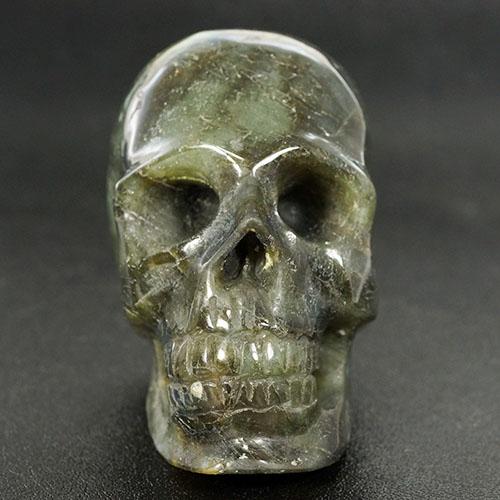 【一点物】ラブラドライト スカル(骸骨) カービング(彫刻) 置物 445g 天然石 パワーストーン【送料無料】