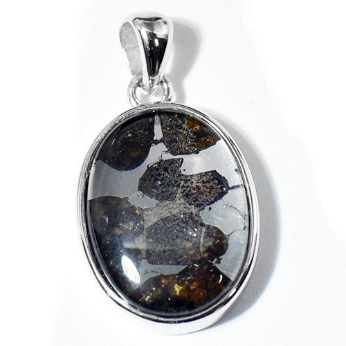 【一点物】パラサイト隕石(石鉄隕石) オーバル スターリングシルバー ペンダントトップ 幅:14×26mm 【送料無料】