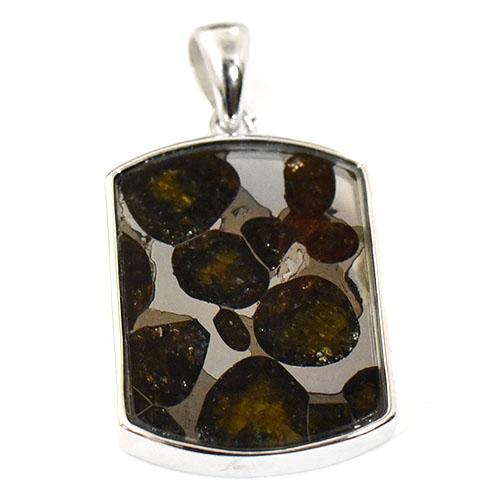 【一点物】パラサイト隕石(石鉄隕石) プレート型 スターリングシルバー ペンダントトップ サイズ 17×30mm 【送料無料】