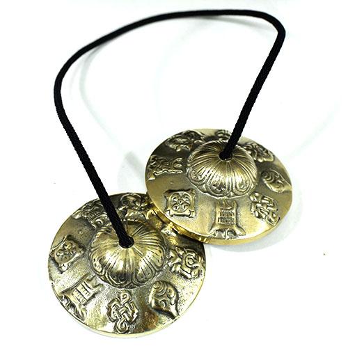 チベット密教 ティンシャ(チベタンシンバル) 八吉祥(八つの幸運のシンボル) 7メタル 直径:72mm|セブンメタル|チベットシンバル|チベット密教|楽器|瞑想|手作り【メール便対応可】