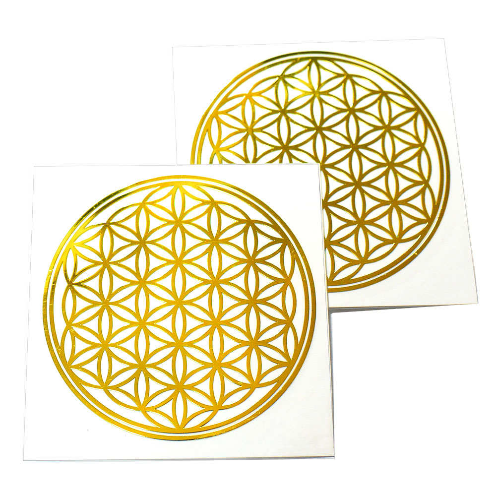 メール便可 秀逸 人気のシンボルを切り抜いたメタル素材カッティングステッカー フラワーオブライフ 生命の花 金色 メタル 金属 幾何学模様 ステッカー 返品送料無料 メール便対応可 2枚セット 直径:4cm