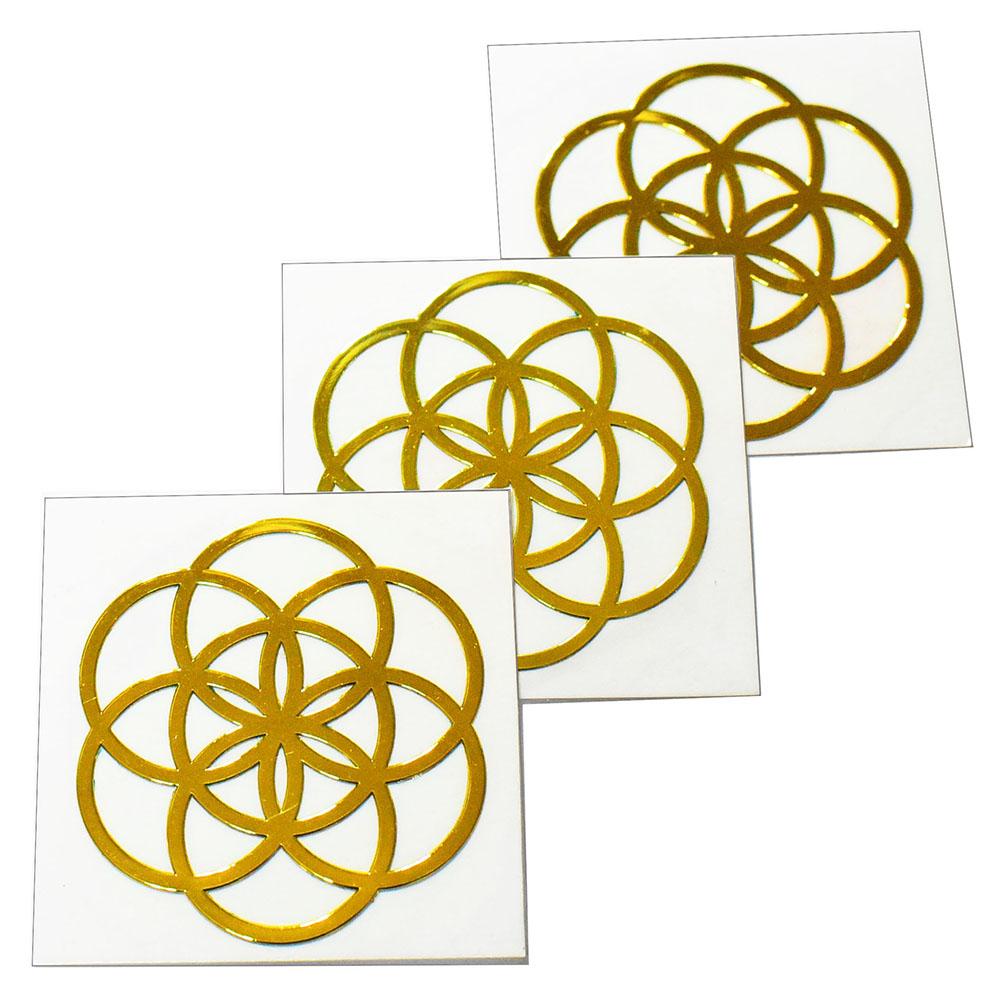 メール便可 人気の幾何学模様メタル素材カッティングステッカー 高級な フラワーオブライフ 生命の花 金色 メタル 業界No.1 金属 3枚セット ステッカー 直径:3cm メール便対応可 幾何学模様 シードオブライフ