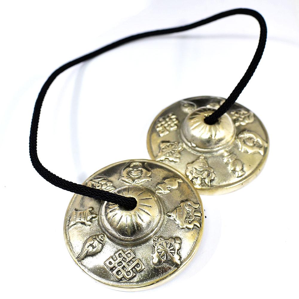チベット密教 ティンシャ(チベタンシンバル) 八吉祥(八つの幸運のシンボル) 7メタル 直径:68mm|セブンメタル|チベットシンバル|チベット密教|楽器|瞑想|手作り【メール便対応可】