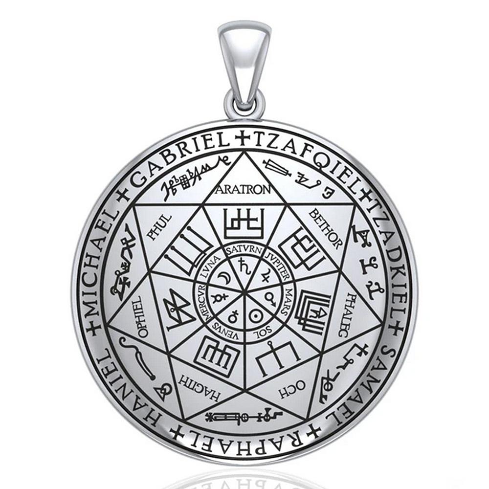 魔術書 宅送 ソロモン王の鍵 に記された7大天使の印章の護符を再現したシルバーペンダントトップ PETER STONE 7大天使の印章 Seal of ペンダントトップ 推奨 タリズマン シールオブソロモン Raziel 送料無料 シルバー Angel
