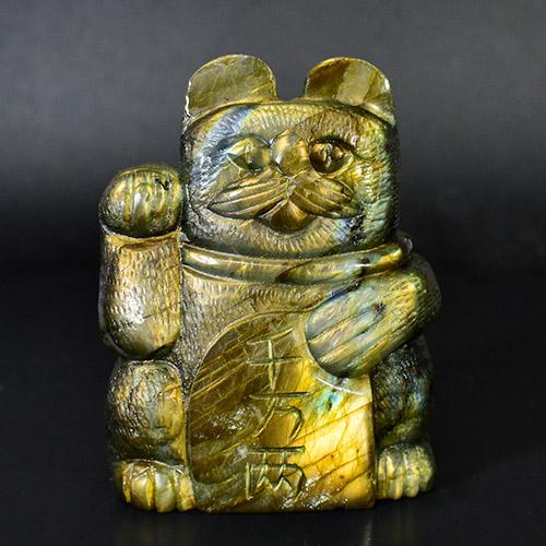 【一点物】招き猫 ラブラドライト 彫刻 置物 重さ:235g|マネキネコ|Lucky Cat|Welcome Cat|招福|和柄【送料無料】