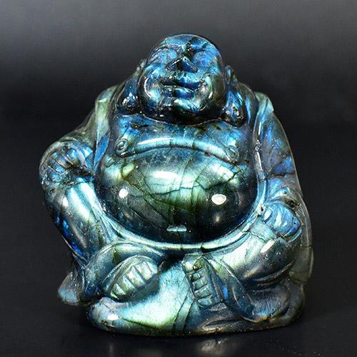 【一点物】チベット密教 七福神 布袋様(ほてい) 高品質ラブラドライト 置物【送料無料】
