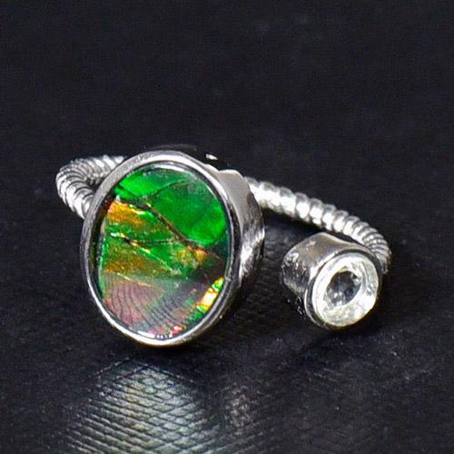 e275d6754f 指輪 シルバー リング 高品質アンモライト 化石 一点物 アンモナイト ...