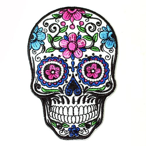 入手困難 メール便可 細かい刺繍 模様の シュガースカル アイロンワッペンです メキシコ ドクロ 刺繍アイロンワッペン メキシカンスカル アップリケ カラベラ 業界No.1 死者の日 メール便対応可