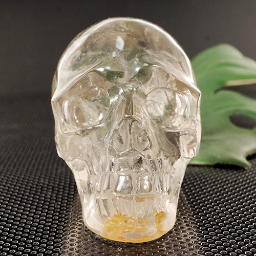 【一点物】天然水晶 クリスタルスカル(骸骨)カービング(彫刻) 274g ヒューマンスカル 人間ガイコツマヤ アステカ 彫刻【送料無料】