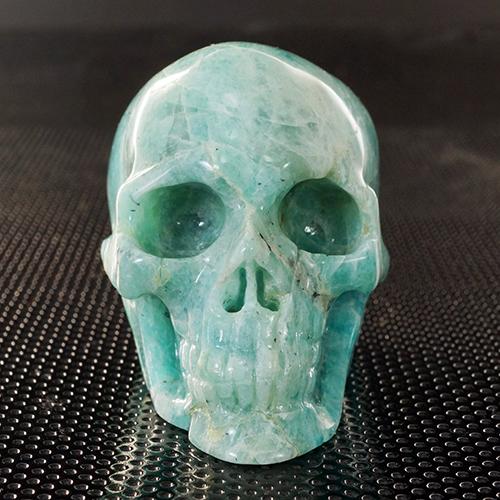 【一点物】ヒューマン スカル(骸骨)アマゾナイト カービング(彫刻) 置物 144g|髑髏|天然石|パワーストーン【送料無料】