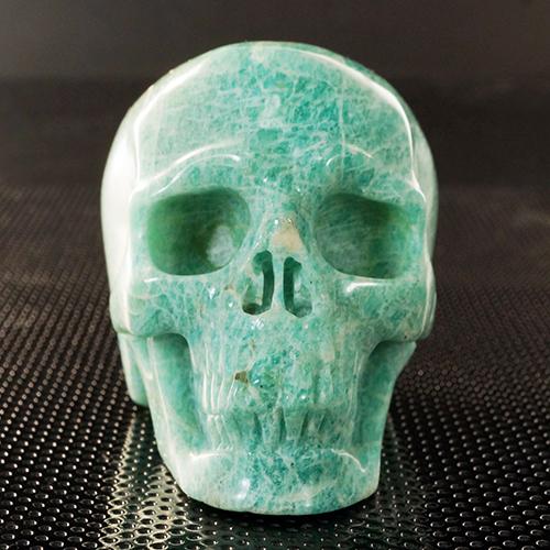【一点物】ヒューマン スカル(骸骨)アマゾナイト カービング(彫刻) 置物 220g|髑髏|天然石|パワーストーン【送料無料】