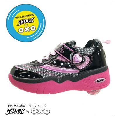bedc3e8614829  SHOCK BY OXO ローラーシューズ SW013-01 キッズ スニーカー ブラック 19~24cm  小学生 女の子 子ども こども キッズシューズ  靴 ...