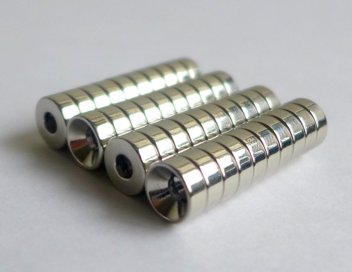 ネオジム磁石 皿穴φ18mm×5mm(N35) 40個セット超強力 マグネット 強力磁石皿ネジで固定できるのでいろいろ使えます。木工・プラモデル・日曜大工・工作・DIY・釣り・車・バイク・紙留め・実験
