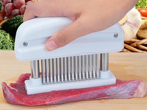 お肉を簡単に柔らかく ミートテンダライザー 特別セール品 48本のステンレス刃が 10%OFF ホワイト 肉の硬い筋を小さく切り離し柔らかくします