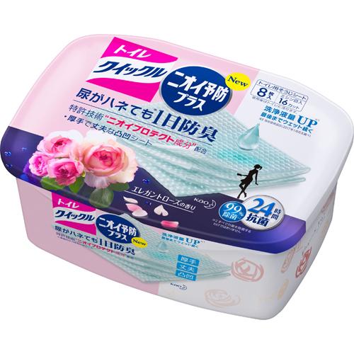 人気 おすすめ 安値 尿ハネによるニオイでお悩みの方に トイレクイックル ニオイ予防プラスエレガントローズの香り トイレ用そうじシート 本体