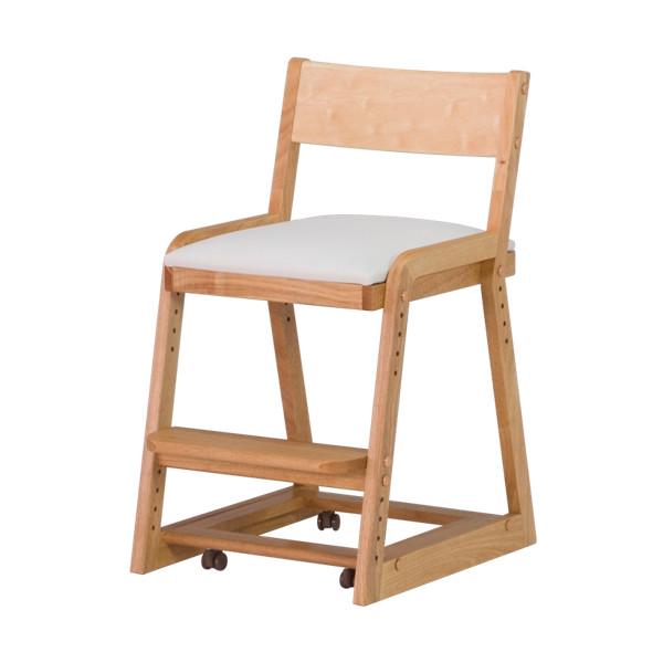 椅子 キャスター 子供用 高さ調整 クッション 無垢材 木製 天然木 学習チェア 組立品 ナチュラル COCORO-KD DESK CHAIR (NA-WH) インテリア おしゃれ 家具 新生活 送料無料