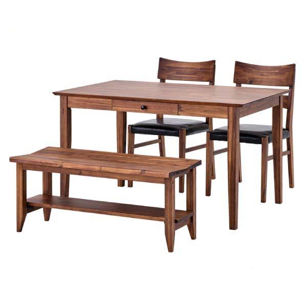 リーズナブルなビンテージテイストダイニング ダイニングテーブルセット 人気商品 ベンチ テーブル チェア アカシア材 木製 引き出し 幅120 SET 家具 TABLE120+BENCH+CHAIRx2 インテリア LITHIO いつでも送料無料 送料無料 4SET おしゃれ 新生活 isseiki DINING