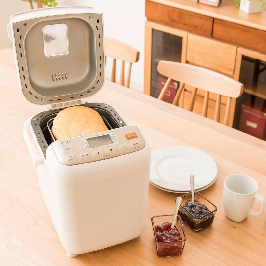 siroca ホームベーカリー SHB-712 全自動ホームベーカリー パン チーズ ヨーグルト ジャム バター 生食パン 焼きたて 窯焼き ピザ クックトースト パン 機械 オートホワイト