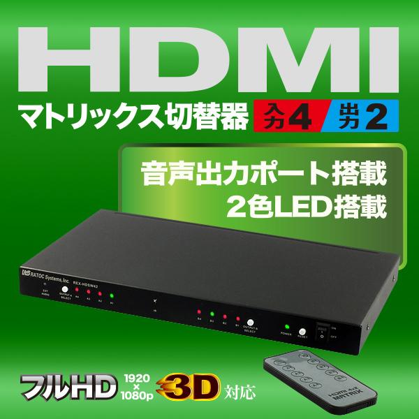 4入力2出力HDMIマトリックススイッチ REX-HDSW42rpup3