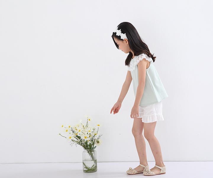 レースカラーAライントップス≪全5色≫子供服女の子キッズノースリーブフリル無地シンプル100cm110cm120cm130cm140cmnewおでかけ春夏