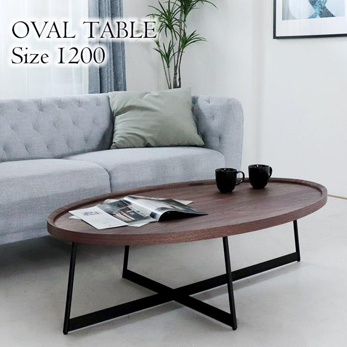 センターテーブル おしゃれ ウォールナット リビングテーブル ローテーブル 北欧 モダン シンプル 木製 アイアン 楕円 オーバル 幅120cm 1年間保証付き 【組立設置付き・送料無料】