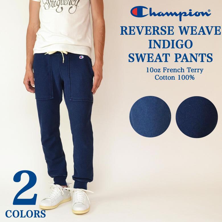 冠軍冠軍反向編織靛藍褲子編織汗水褲子靛藍運動褲日本新模型 C3 H202