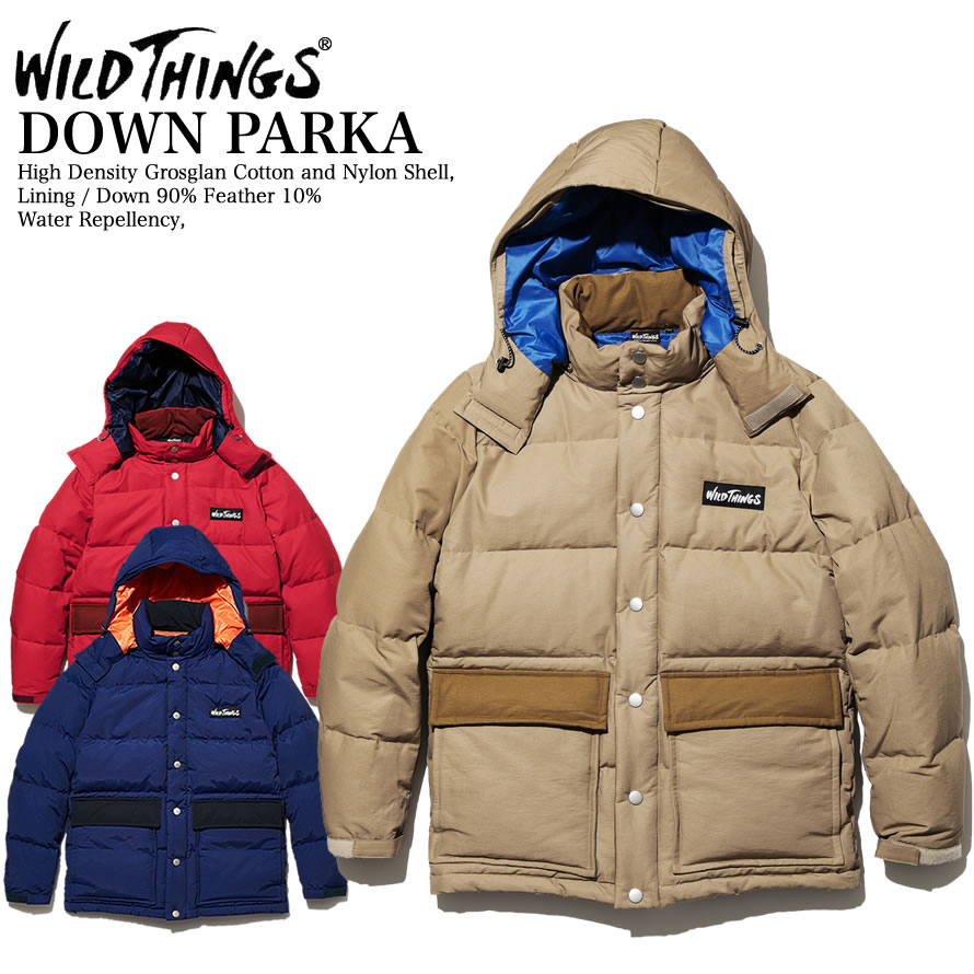 WILDTHINGS ワイルドシングス DOWN PARKA 撥水加工グログランナイロン レトロ ダウンパーカー WT18201N