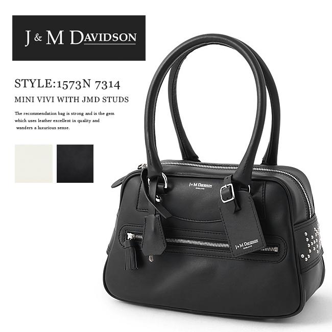 [安心正規]【J&M DAVIDSON】ジェイアンドエムデヴィッドソン#1573N 7314 MINI VIVI WITH JMD STUDSレディース バッグ/ミニヴィヴィ/レザー/本革ハンドバッグ/スタッズ/ボストンバッグ/BLACK(9990)/NEW WHITE(0150)