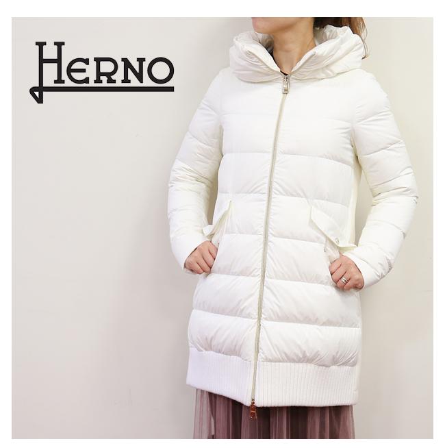 【送料無料】HERNO【ヘルノ】#PI1036D WHITE(1100)レディース アウター ダウンジャケット ダウンコートロング丈 ブラウン 白 ホワイト ウール