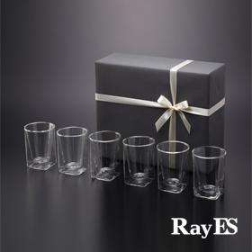 [送料無料][ギフト] RayES/レイエス ダブルウォールグラス RDS-002 [6個入り・ラッピング・カード付] 耐熱二重ガラス/誕生日プレゼント 結婚祝い 内祝 祝い 新築 退職 引き出物 おすすめ ギフト プレゼント【あす楽】【HLS_DU】