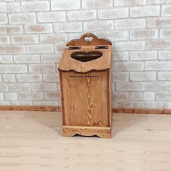 【ゴミ箱おまけ付き】フタ付きダストボックス W28×H55cmフリーボックス 木箱 ゴミ箱入れ日本製 完成品 カントリー家具 アメリカン小物収納家具 木製 無垢材 ハート木工品 丸角 角が丸い おしゃれ 可愛い rbx1
