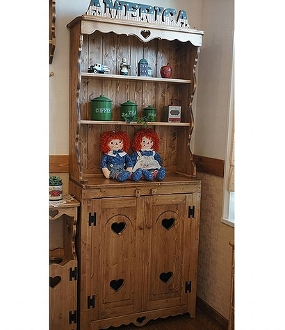 カントリーカップボード H1800 2分割式 RCP-2食器棚 戸棚 台所収納 キッチン収納家具 小物収納リビング 木製 無垢材 ハート木工品 アメリカンカントリー調丸角 角が丸い おしゃれ 可愛い カントリー家具 rcp2