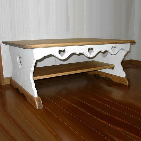 ツートンのカントリーテーブル (幅100cm×奥行60cm) RTB-2リビング家具木製テーブル 無垢材 ハート木工品 アメリカンカントリー調白色 丸角 角が丸い おしゃれ 可愛い カントリー家具 rtb2