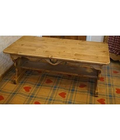 木製テーブル W90cm×D45cm [RTB-8]リビング家具 ダイニングテーブル コーヒーテーブル 木製テーブル ハート木工品 アメリカンカントリー調 丸角 角が丸い おしゃれ 可愛い カントリー家具