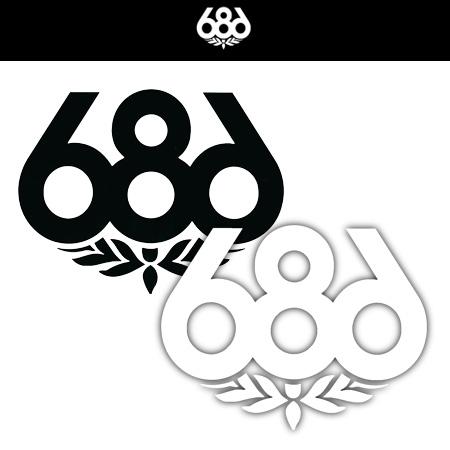 686 Stickers L BLACK WHITE