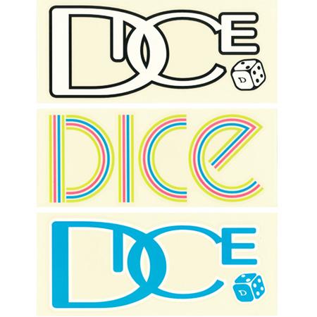 DICEのロゴステッカーです DICE LOGO ステッカー L WHITE 引出物 日本正規品 情熱セール メール便対応 ダイス BLUE COLOR