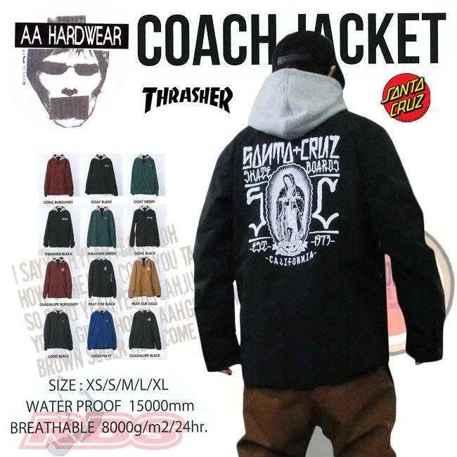 16-17 モデル AA HARDWEAR COACH JACKET 【THRASHER】【SANTACRUZ】コーチジャケット ダブルエー 【スラッシャー サンタクルーズ 】【スノーボード ウエア 16-17 】【日本正規品】