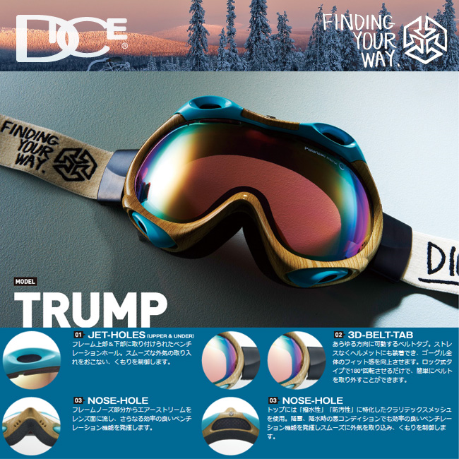 DICE dice goggles TRUMP Trump color DEMI BLACK PASTEL GREEN MIRROR/SUPER LIGHT PINK BASE pastel green mirror / light pink base.