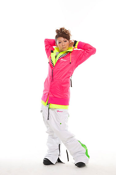 LUVE ZIPPER ジャケット ピンク ZIPPER パンツ ホワイト 上下セット 【スノーボード ウェア】