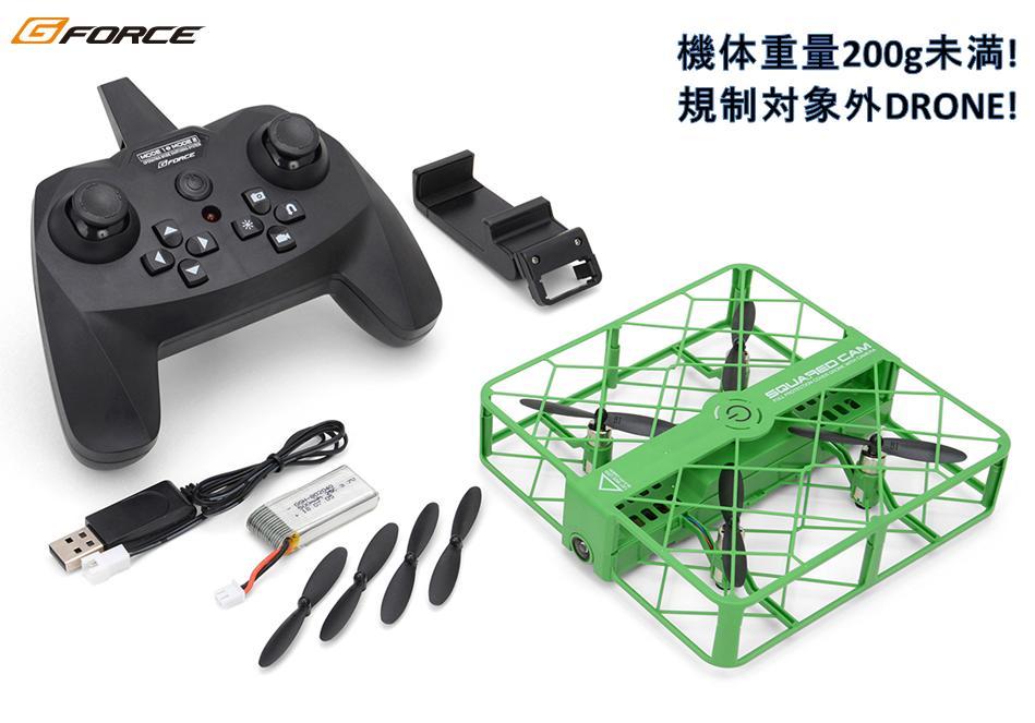 !【G-FORCE /ジーフォース】 GB051 SQUARED CAM(Green)(スクアード・カム グリーン)「720p HDカメラ内蔵ドローン」
