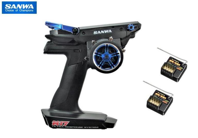 101A32414A 【SANWA/サンワ/三和電子機器】 M17 限定アルミ コンボセット BLUE Version(RX-491 PC ダブルレシーバー) *SSL対応 送信機・RX-491受信機×2付セット