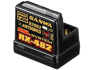 107A41254A 【SANWA/サンワ/三和電子機器】 RX-482 2.4GHz 4ch FHSS4 テレメトリー対応アンテナ内蔵型受信機