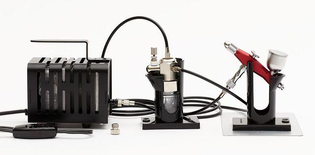 【基本送料無料】クレオス/PS-404R/Mr.リニアコンプレッサー クロプチ/プロコンBOY SQアルミ製軽量版(ワインレッド)セット