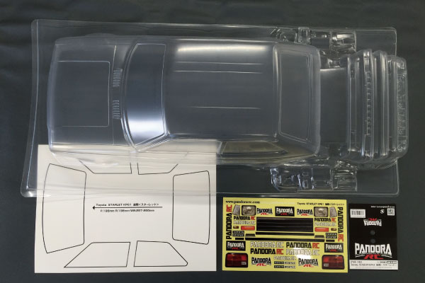 ラジコン 人気ショップが最安値挑戦 夢空間取り扱い商品 パンドラRC Pandora RC PAB-2182 KP61 後期 送料無料 未塗装 スターレット クリアボディセット Toyota