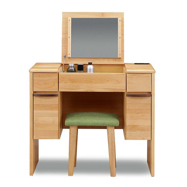 ドレッサーデスク フラットタイプ 幅82cm 化粧台 椅子付き コンパクト メイク台 収納ボックス 引き出し 鏡台(代引不可)【送料無料】